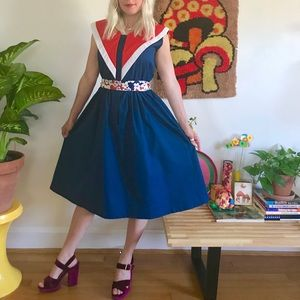 Vintage 70s mod nautical 4th of July dress M/L